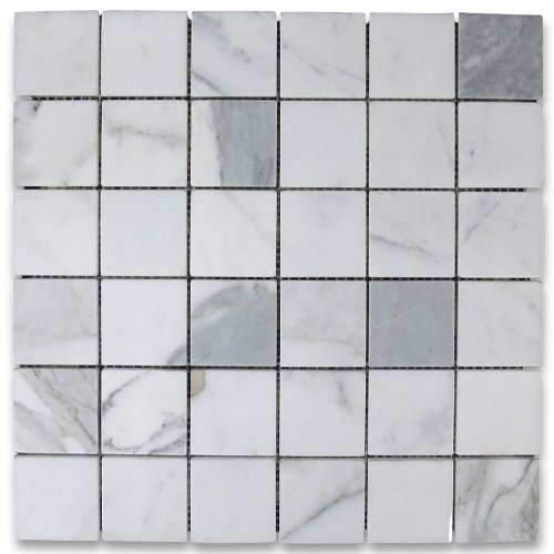 Square Marble Mosaic - Calacatta Gold Italian Calcutta Marble Square Mosaic Tile 2 x 2 Honed