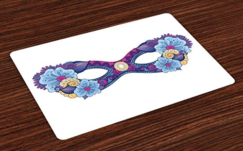 Lunarable Masquerade Place Mats Set of 4, Colored