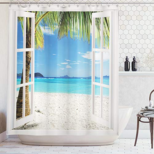 Ambesonne Ocean Shower Curtain Decor by, Tropical Palm Trees on an Island Beach Through White Wooden Windows, Polyester Fabric Bathroom Shower Curtain Set with Hooks, White Blue