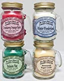 4 Pack Christmas Assortment Mini Mason Jar Candles - 3.5 Oz Balsam Pine, 3.5 Oz Cranberry Orange Spice, 3.5 Oz Homemade Sugar Cookie, 3.5 Oz Winter Wonderland, By Our Own Candle Company