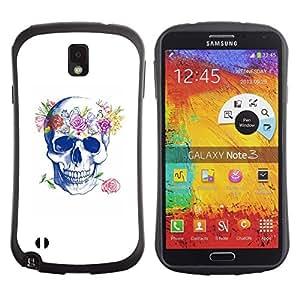 """Pulsar iFace Series Tpu silicona Carcasa Funda Case para Samsung Note 3 , Cráneo del amor de Rose floral de la guirnalda de la primavera"""""""