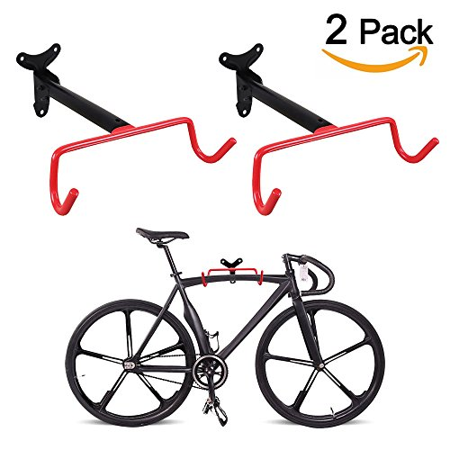 PHUNAYA Bike Hanger Wall Mount Horizontal Foldable Bicycle Hook for Garage Bicycle Wall Holder Hoist Heavy Duty (2 Pack), With Spare Screws