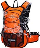 Mubasel Gear Insulated Hydration Backpack with 2L BPA Free Bladder - Keeps Liquid Cool up to 5 Hours – Waterproof Pack for Running, Hiking, Cycling, Camping (Orange - with Waist Pack)