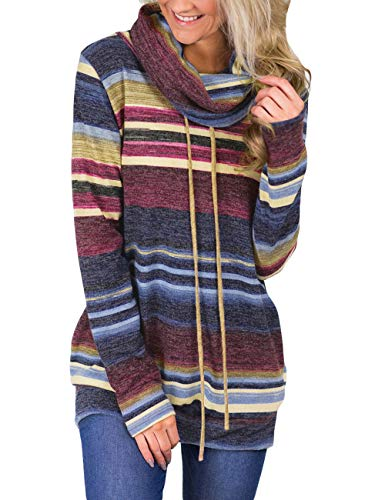 luvamia Womens Blue Casual Long Sleeve Striped Cowl Neck Sweatshirt Top with Pocket Medium (Fits US 8 - US 10)