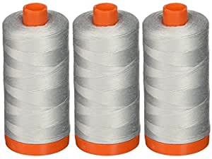3-PACK - Aurifil 50WT - Dove, Solid - Mako Cotton Thread - 1422Yds EACH