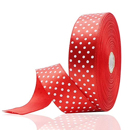 JIWINNER 1 inch Wide Red Polka Dot Satin Ribbon for Gifts Wrapping – 50 Yard