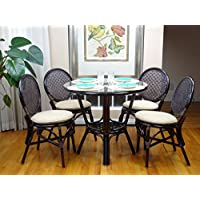 5 Pc Rattan Wicker Dining Set Round Table Glass Top+ 4 Denver Side Chairs. Dark Brown