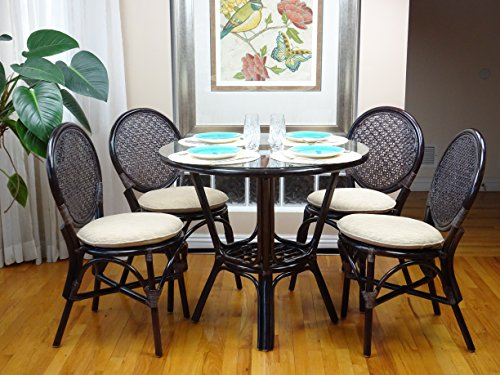 5 Pc Rattan Wicker Dining Set Round Table Glass Top+ 4 Denver Side Chairs. Dark (Round Glass Top Dinette)