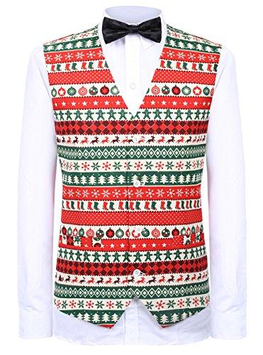 - Hanayome Men's Waistcoat 4 Buttons V-Neck Christmas Costumes Party Suit Vest S-XXXL SI135-VS (Red,M)