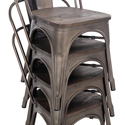 Buschman Store TH-1002C Timber Gun Grey 4 Set of Four Bronze Wooden Seat Tolix-Style Metal Indoor/Outdoor Stackable Chairs with Back, by Buschman Store (Image #5)