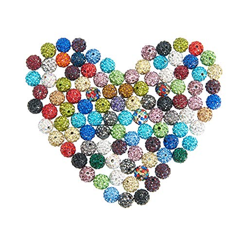 - NBEADS 10mm 100pcs Mixed Color Pave Czech Crystal Rhinestone Disco Ball Clay Spacer Beads, Round Polymer Clay Charms Beads for Shamballa Jewelry Making