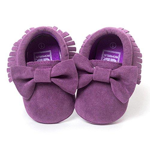 Clode® Baby Girl Kleinkind Turnschuhe Freizeitschuhe bowknot Quasten weiche alleinigen Schuhe Prinzessin Schuhe (12/6~12Monat, Lila)