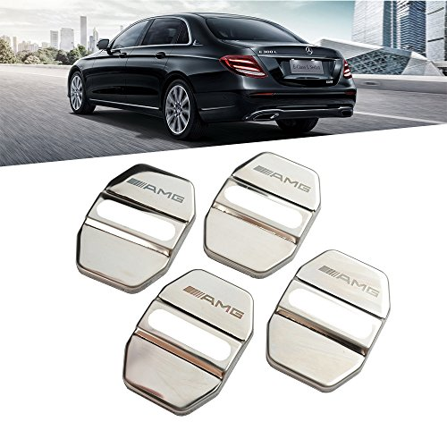 1797 Mercedes Door Latch Cover Benz Accessories Car Door Lock Cover Buckle Cap AMG Logo Interior Parts W204 W212 X204 W164 W166 W245 R172 Anti Corrosion Device Stainless Steel 3M Gum Silver 4pcs