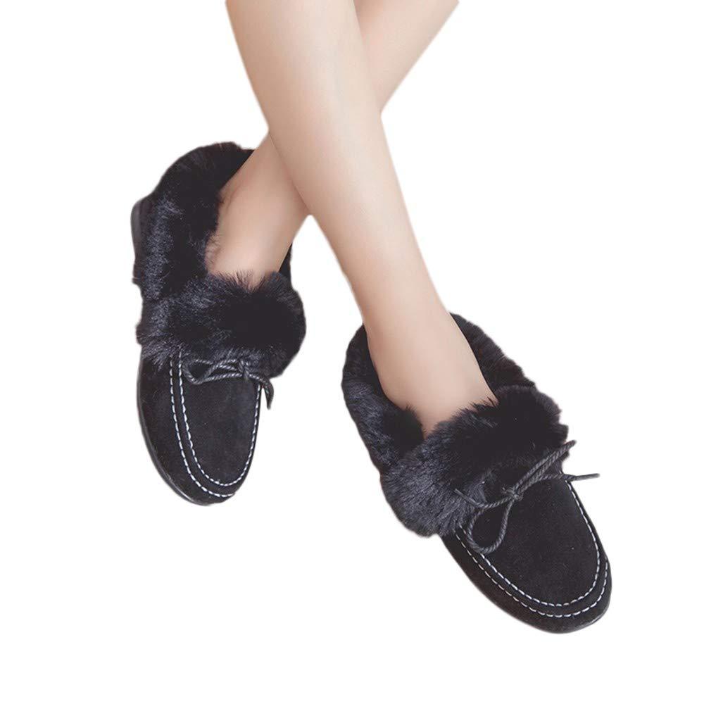 MYMYG Damen Kurz Winter Stiefel Casual Ankle Boot Mode Frauen Flache Stiefel Peas Schuhe Plus Samt Baumwolle Schuhe Schneeschuhe Kurz Stiefeletten Flache Booties MYMYG-310248WOMEN