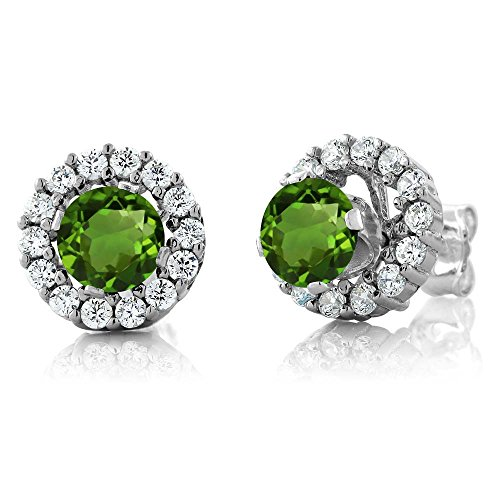 Gem Stone King 1.39 Ct Round Green Chrome Diopside 925 Sterling Silver Earrings