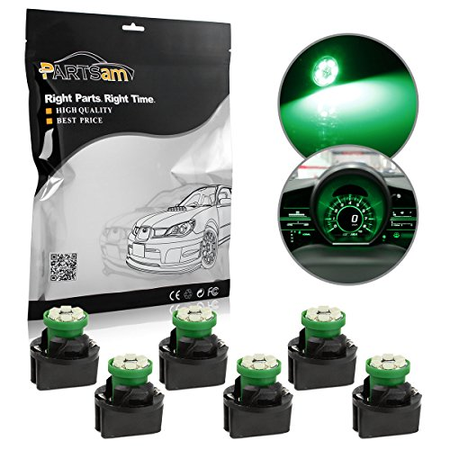 Partsam PC194 194 168 T10 Wedge Instrument Panel LED Light Gauge Cluster Dashboard Indicator Bulb with Twist Lock, Green, Pack of ()