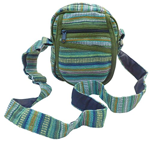 Mix TRAVEL PASSPORT COTTON FAIR STRIPE Green SHOULDER HIPPY BOHO TRADE GHERI BAG PSq8qZUa