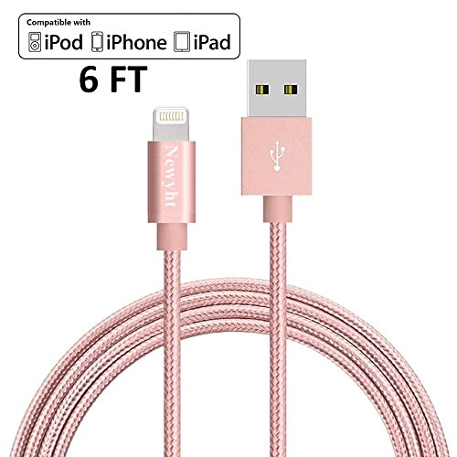 Newyht Lightning Cable / iPhone Charging Charger Cable (6ft) for Phone X, 8, 8 Plus, 7, 7 Plus, 6s, 6s Plus, 6, 6 Plus, SE 5s 5c 5, iPad Air 2 Pro, iPad mini 2 3 4, iPad 4th Gen 1 Pack