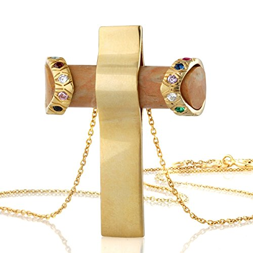 Cross Pendant Necklace 18k Gold Plate Matte Finish Jerusalem Stone, Accentuated with a Ring of Semi-precious Stones That Represent the 12 Tribes of Israel