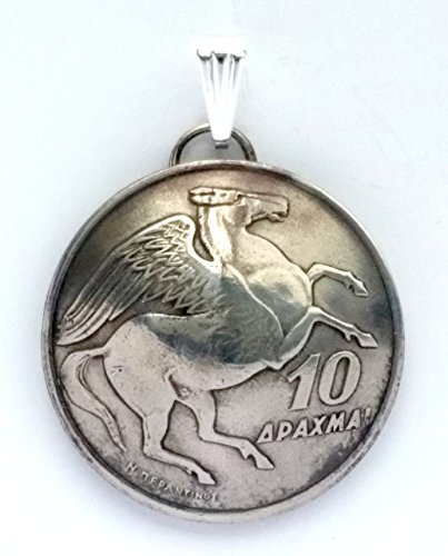 Greece Pegasus Coin Pendant, Vintage Jewelry, Greek Flying Horse Necklace, Unique Charm, Gift for Her