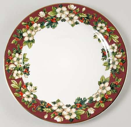 "SAKURA Splendor Burgundy 12"" Chop Plate/Round Platter ~ White Flowers, Holly On Burgundy~Discontinued 2004~ EXCELLENT/Mint Condition"