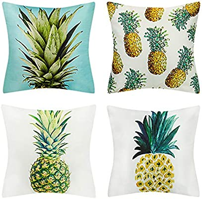 BOJIN Decorative Throw Pillow Covers 18x18 Inch Square Peach Skin for Sofa Bedroom Car Set of 4 - New Pineapple