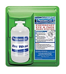 PhysiciansCare 500-90501 Plastic 2 lb. Wall Mountable Eyewash Station with Single 32 oz. Bottle (Pack of 6)