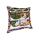 Please Come Home For Christmas Brittany Spaniel Dog Sitting In Window Throw Pillow (14x14)