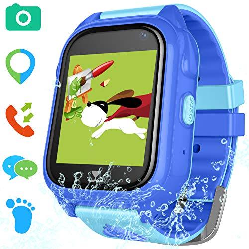 Kids Smart Watch for Girls Boys - IP67 Waterproof Children Smartwatch with GPS/LBS Position Tracker SOS Help Camera Anti-Lost Math Game Calling Phone Watch S8 (01 Waterproof GPS Blue)