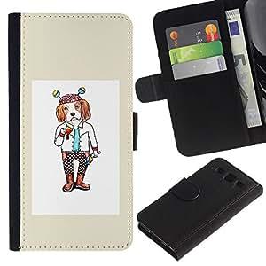 ARTCO Cases - Samsung Galaxy S3 III I9300 - Cute Cartoon Hipster Spaniel Dog - Cuero PU Delgado caso Billetera cubierta Shell Armor Funda Case Cover Wallet Credit Card