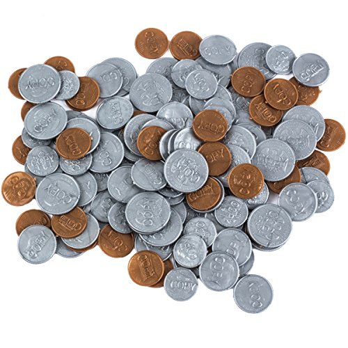 Fake Money Coins - Fake Coins for Kids - Fake Money - Plastic Coins for Teaching - Learning Resources by Funny Party Hats