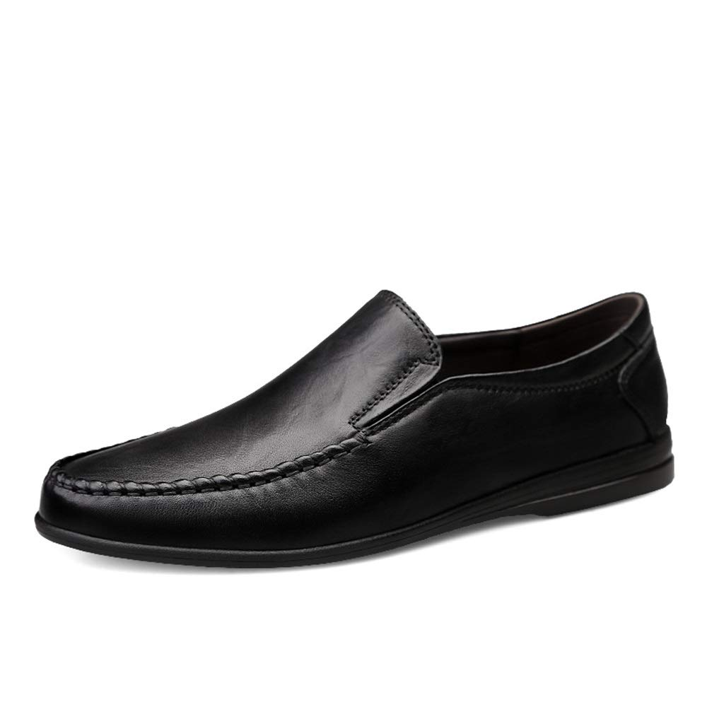 Black Mens loafers Flats Men's Genuine Leather Driving Dress shoes Casual Breathable Penny Loafers Light-Weight Flat Lined Slip On Round Toe (color   Reddish Brown, Size   6.5 UK)