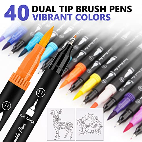 Dual Tip Brush Pens Set, 40 Colors Felt Tip Pen Set Colouring Pens Art Markers with Nylon Brush Tip and Fineliner Pens, Watercolour Pens Ideal for Painting, Calligraphy, Colouring, Lettering, Journal