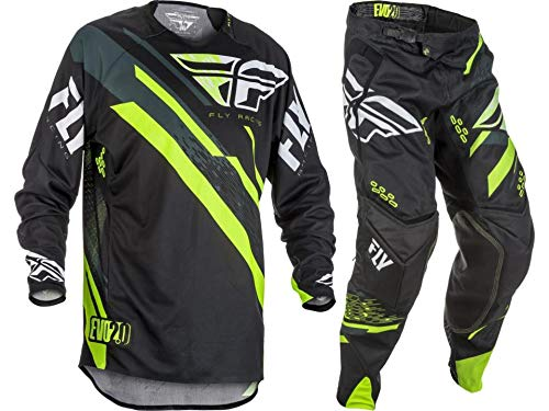 New Fly Racing Men's Evolution 2.0 Jersey & Pants Combo Set MX Riding Gear (Black/Hi-Vis, Adult Small / 28S)