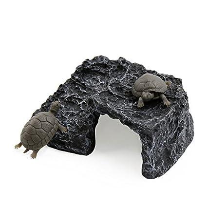 eDealMax Gris Oscuro paisaje submarino Tortuga Suba hueco de Piedra decoración del hogar Para el acuario