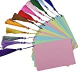 Loghot 12PCS DIY Blank Cardstock Bookmarks Beautiful Index Care Gift Tags with 12 Colorful Tassels Assorted Color (3.94x5.91inch)