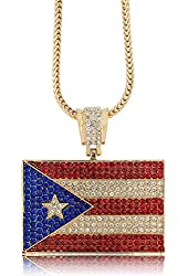 """Iced Out Gold Puerto Rican Flag Pendant w/ 30"""" & 36"""" Franco Chain"""