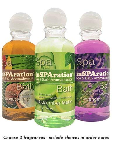 3-Pack InSPAration - Spa, Hot Tub, Bath Liquid Aromatherapy Fragrances 9 oz - PLEASE BE SURE TO SPECIFY 3 FRAGRANCES AT CHECKOUT or send us a message with your choices!