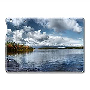 Brain114 iPad Mini Leather Case - Slim Flip Case Cover for iPad Mini Blue Lake 3 - Auto Wake Up/Sleep Function New