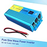 IpowerBingo Car Boat 1200W/2400W(Peak) Pure Sine Wave Power Inverter 12V DC to 110 V AC with 2 AC Outlets 2 Battery Cables with LCD Display
