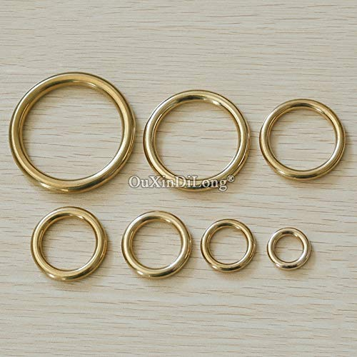 Ochoos Wholesale 500PCS/LOT Antique Solid Seamless Copper Rings Bag Handbag Wallet Leather Buckle Ring Hardware Fittings DIY Hardware - (Color: 40mm Brass Color)
