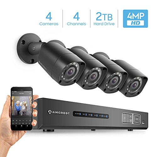 Amcrest UltraHD 4MP 4CH Video Security System -Four 3840TVL 4.0-Megapixel Weatherproof IP67 Bullet Cameras, 98ft IR LED Night Vision, Pre-Installed 2TB HDD, HD Over Analog/BNC, Smartphone View (Black) (Ultra Analog)