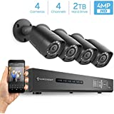 Amcrest UltraHD 4MP 4CH Video Security System -Four 3840TVL 4.0-Megapixel Weatherproof IP67 Bullet Cameras, 98ft IR LED Night Vision, Pre-Installed 2TB HDD, HD Over Analog/BNC, Smartphone View (Black)