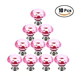 Dresser Knobs, FenglinTech 10PCS 1.18inch Crystal Glass Diamond Shape Cabinet Knobs Cupboard Drawer Pull Handles - Pink