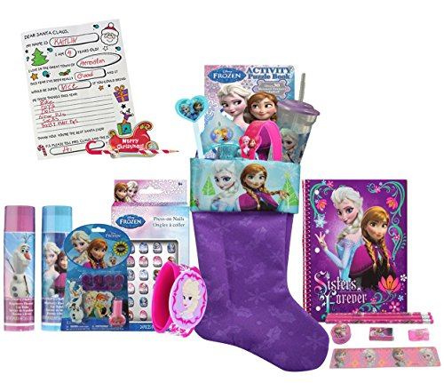 Disney Frozen Girls All Inclusive 12pc Pre-Filled Christmas Stocking Featuring Anna & Elsa! Plus Bonus
