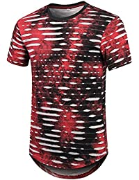 Mens Hip Hop Tie-Dyed Ripped Hole Stripe Hipster Curve Hem Short Sleeve T Shirt