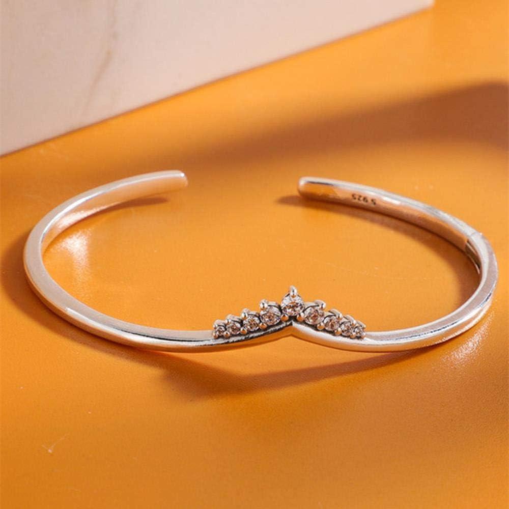 LASISZ Silver 925 Jewelry Tiara Wishbone Open Bangles Bracelets for Women fit Silver 925 Original Charms Beads DIY Make,16cm