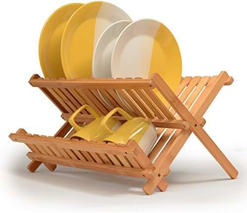 Dish Drying Rack Made Of 100% All Natural Premium Bamboo Folding Dish Drainer, Kitchen Utensil Holder, Designed By: Bambüsi