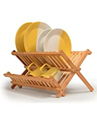 Dish Drying Rack Made Of 100% All Natural Premium Bamboo Folding Dish Drainer, Kitchen Utensil Holder, Designed By: Bambüsi
