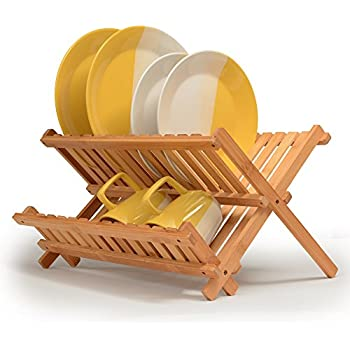 Bamboo Dish Rack Folding Drainer Wooden Plate Collapsible Drying Made Of 100
